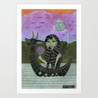 Girl in a Small Creature Boat Art Print