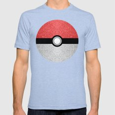 Sparkly red and silver sparkles poke ball Mens Fitted Tee Tri-Blue SMALL
