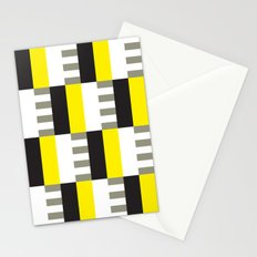 Yellow & black modernist pattern Stationery Cards