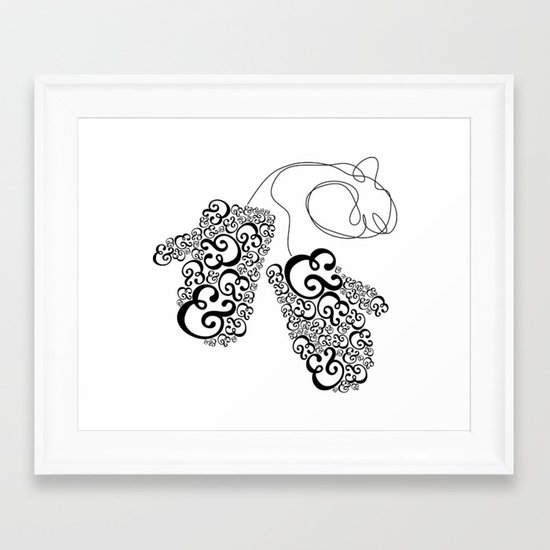 Ampersand Mittens Framed Art Print