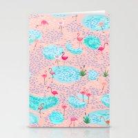 Flamingo Lake-pink Stationery Cards