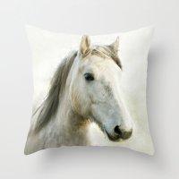 White Horse Portrait Throw Pillow