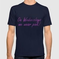 On Wednesdays We Wear Pink Mens Fitted Tee Navy SMALL