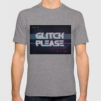 Glitch Please Mens Fitted Tee Tri-Grey SMALL