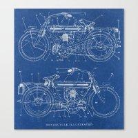 Motorcycle blueprint Canvas Print