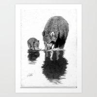 First Fishing Lesson Art Print