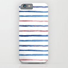 Watercolor pink and blue stripes iPhone 6 Slim Case
