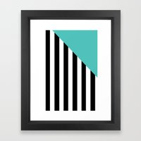 Triangle Stripes (Turquoise) Framed Art Print