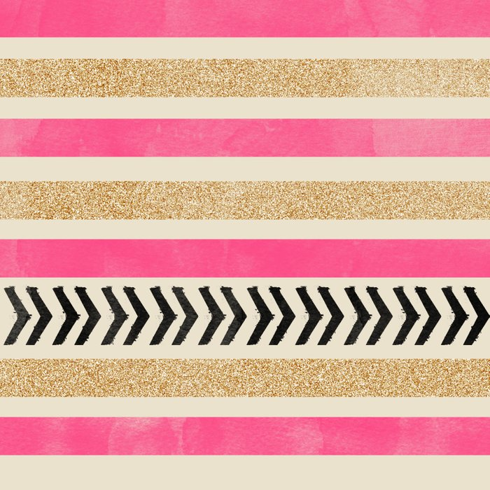 Pink And Gold Stripes And Arrows Duvet Cover By Allyson