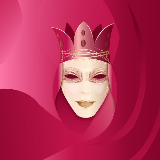 Mascaras Venecianas (RED) Art Print