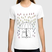 Mimos under Rainbow rain Womens Fitted Tee White SMALL
