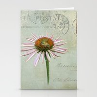 coneflower & bee postale Stationery Cards