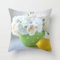 Polka Dots and a Lemon Throw Pillow