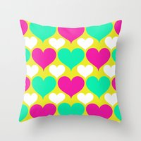Happy Hearts Throw Pillow