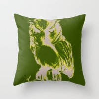 Throw Pillow featuring Owl Color by Mary Mohr