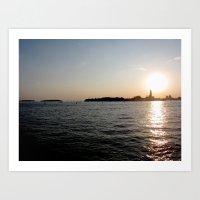 sunset - venice Art Print