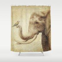 A New Friend (sepia Draw… Shower Curtain