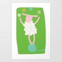 sheep playing Art Print