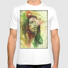 Reggae Rebel (Marley) White Mens Fitted Tee SMALL