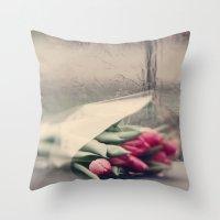 Tulips On A Rainy Day Throw Pillow