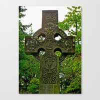 Canvas Print featuring Celtic cross gravestone by Vorona Photography