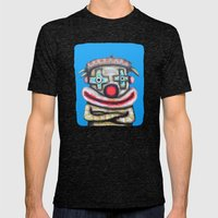 Clown with small advertisement Mens Fitted Tee Tri-Black SMALL
