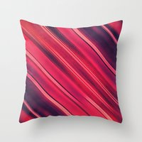 Moder Red / Black Stripe  Abstract Stream Lines Textuer Design  Throw Pillow