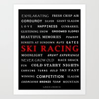 Ski Racing Black Art Print