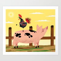 The Pig And The Rooster Art Print