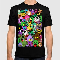 Monsters Doodles Characters Saga Mens Fitted Tee Black SMALL