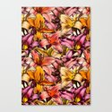 Daylily Drama - a floral illustration pattern Canvas Print
