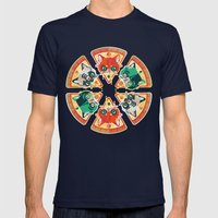 Pizza Slice Cats  Mens Fitted Tee Navy SMALL