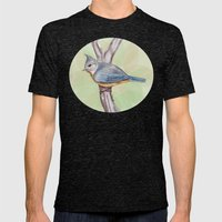 Grey-crested Tit Mens Fitted Tee Tri-Black SMALL