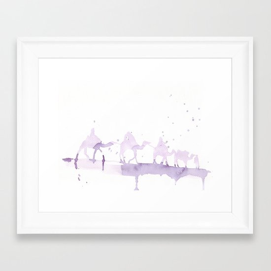 Watercolor landscape illustration_Sahara Framed Art Print