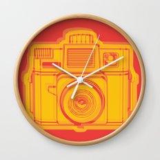 I Still Shoot Film Holga Logo - Reversed Yellow & Red Wall Clock