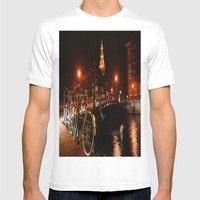 Amsterdam At Night Mens Fitted Tee White SMALL