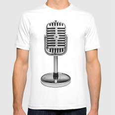 Vintage Microphone SMALL Mens Fitted Tee White