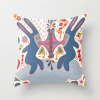 Rabbits Kissing Throw Pillow