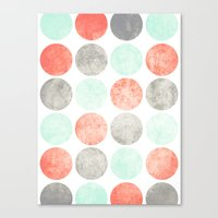 Circles (Mint, Coral & Gray) Canvas Print