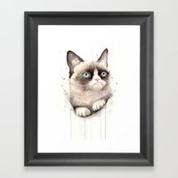 Grumpy Watercolor Cat Framed Art Print