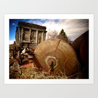 Old Mill Farm Equipment Art Print