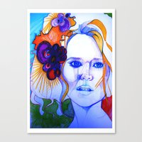 Blonde Girl With Flowers… Canvas Print