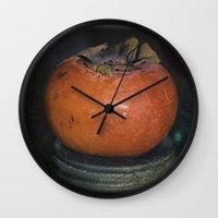 Persimmon Still Life Wall Clock