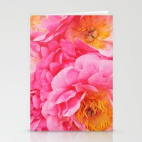Hot Pink Peony Stationery Cards