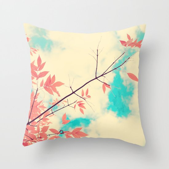 Pink fall leafs on retro vintage sky  Throw Pillow