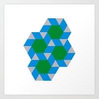 #355 Green suns – Geometry Daily Art Print
