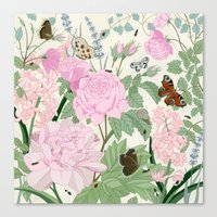 Pink flowers and butterflies Canvas Print