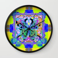 Wall Clock featuring Green-Gold Geometric Pur… by SharlesArt