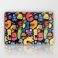 Laptop & iPad Skin featuring Monster Faces Pattern by Chris Piascik