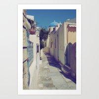 Santorini Walkway Art Print